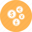 coins, currency, dollar, euro, money, yen icon