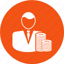 businessman, coins, dollar, presentation, profit icon