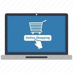 loptop, online shopping, payment icon