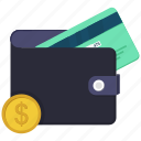 atm card, coin, dollar, money, money in wallet, wallet icon