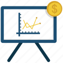 blackboard, coin, desk, dollar, growth, infographic icon