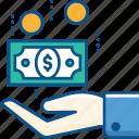 cumpoting, dollar, hand, money, take money icon icon