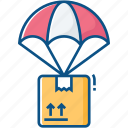 air, cloud, crate, delivery, parachute, present, product icon icon
