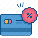 atm card, credit card, debit card, payment method, percentage, visa card icon icon