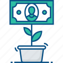 cash, currency, investment, money, plant icon icon