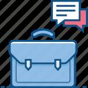 bag, bubble, business, chat, message, portfolio, talk icon icon