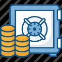 bank deposit, bank locker, bank safe, bank vault, coin, safe box icon icon