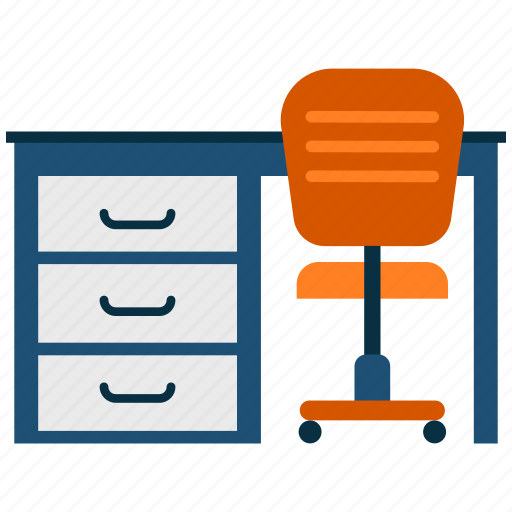 chair, desk, office, table icon
