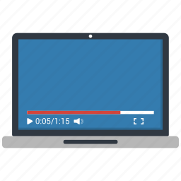 laptop, online video play, video, video play icon