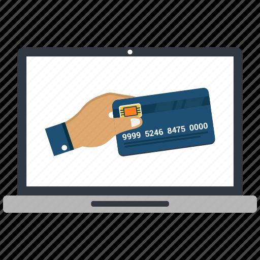 atm card, hand, laptop, money send icon