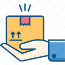 box, deliver, delivery hand, hand, return, shopping icon icon
