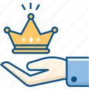 care, crown, hand, luxury, royal, share icon icon