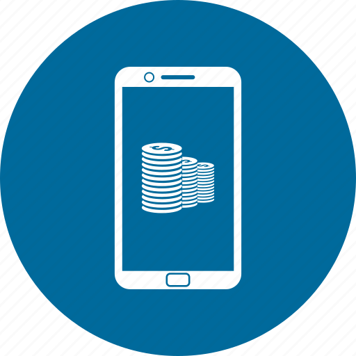 cell phone, coin, dollar, mobile, phone icon