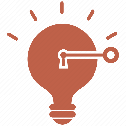 bulb, idea, key, light, strategy icon