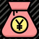 bag, business, cash, financial, money, yen