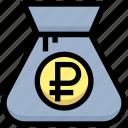 bag, business, cash, financial, money, ruble