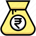 bag, business, cash, financial, money, rupee