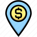 business, dollar, financial, gps, location, map pin