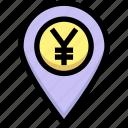 business, financial, gps, location, map pin, yen