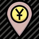business, financial, gps, location, map pin, yuan