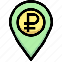 business, financial, gps, location, map pin, ruble