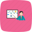 analysis, graph, lecture, presentation icon
