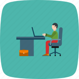 interface, laptop working, user, working man, workspace icon