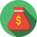cash, coins, currency, dollar, finance, money, money bag icon