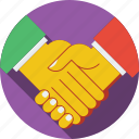 accord, agreement, arrangement, businessman, companionship, friendship, handshake, man, men, office, people icon