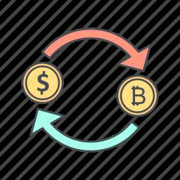 bitcoin, dollar, exchange icon