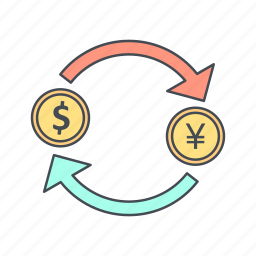 dollar, exchange, yen icon