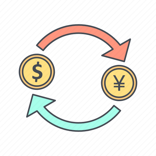 currency, dollar, exchange, yen icon