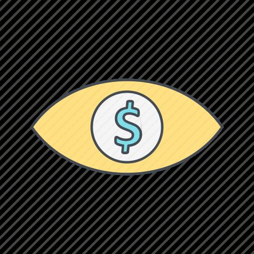 dollar, eye, finance icon