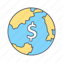 currency, finance, globe, world icon