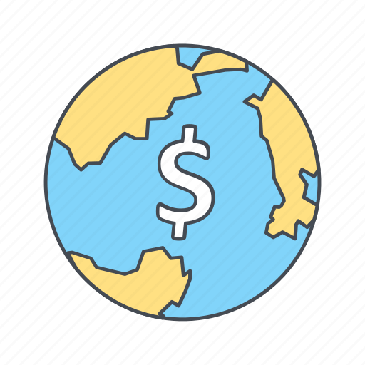 currency, globe, world icon