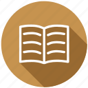 document, education, knowledge, notebook, open book, read, school icon