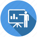 business plan, chart, lector, lecture, presentation, report, teacher