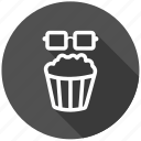 cinema, entertainment, food, junk food, movie, popcorn, snack icon