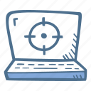 business, crosshairs, finance, laptop, precision icon