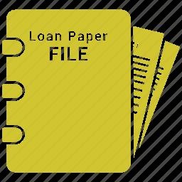 config, configuration, gear, loan file, loan paper, paper icon