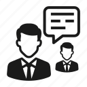 business, businessman, chat, communication, connection, conversation icon