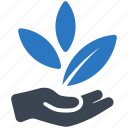 business startup, hand, leaves icon