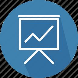 analytics, business, finance, presentation, statistics, training, work icon