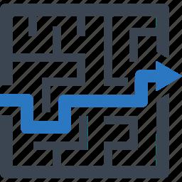 labyrinth, maze, strategy icon