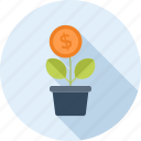 coin, flower, growth, investment, money, nature, plant icon