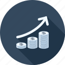cash, chart, coin, currency, growth, investment, money icon