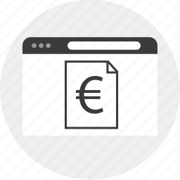 browser, business, currency, euro, internet icon