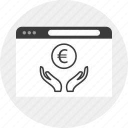 business, currency, euro, hands icon