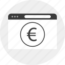 browser, business, circle, euro icon