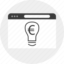 business, currency, euro, idea, lightbulb icon